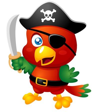 sombrero pirata: Ilustración de la historieta del loro del pirata