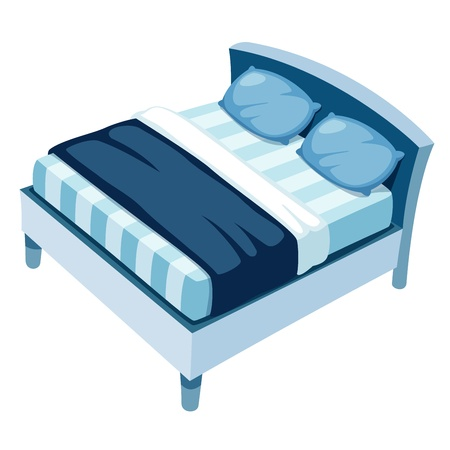 cartoon bed: illustration of bed on white background