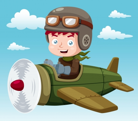 airplane cartoon: illustration of Boy on plane Illustration
