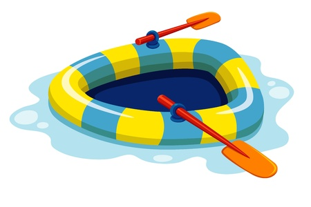 oars: illustration of inflatable boat Vector Illustration