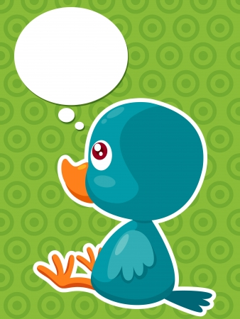 illustration of Cartoon bird thinking Vector