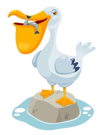 illustration of Cartoon pelican Vector