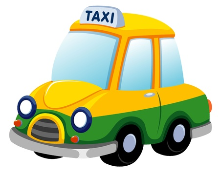 fare: illustration of Cartoon taxi car on white