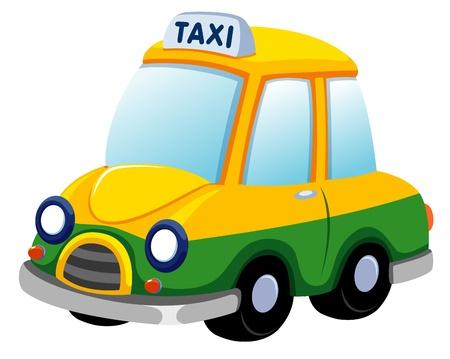 servicios publicos: ilustraci�n de dibujos animados coche de taxi en blanco Vectores