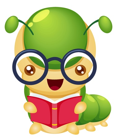 reading glass: illustration of Cartoon book worm vector