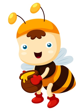 illustration of Cartoon bee  Vector