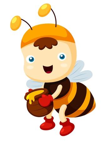 queen bee: ilustraci�n de dibujos animados de la abeja
