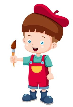 beret: illustration of Cartoon artist boy