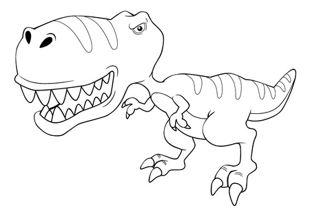 illustration of cartoon dinosaur outline Vector
