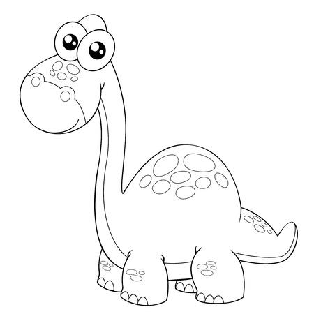 dinosaurio caricatura: ilustraci�n de contorno dinosaurio de la historieta