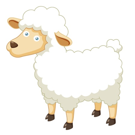 cloven: Illustration of a cartoon sheep  Illustration
