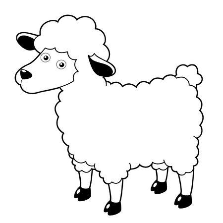 Illustration of a cartoon sheep  Vector