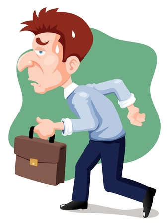 illustration of cartoon businessman tired