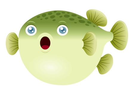 simple fish: Illustration of a puffer fish