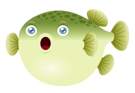 sea creature: Illustration of a puffer fish