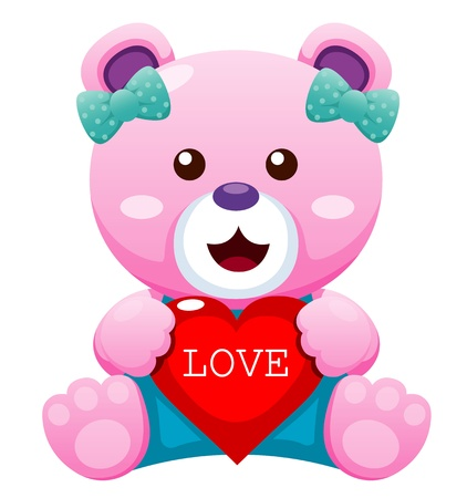 stuffed animals: Illustration of Teddy bear with heart