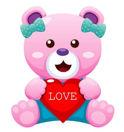 osos de peluche: Ilustraci�n del oso de peluche con el coraz�n Vectores