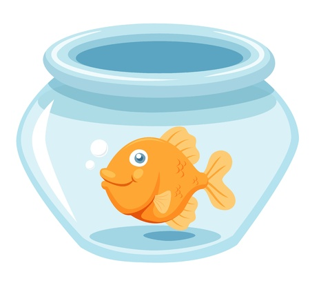 illustration of Goldfish in a bowl Vector Vector