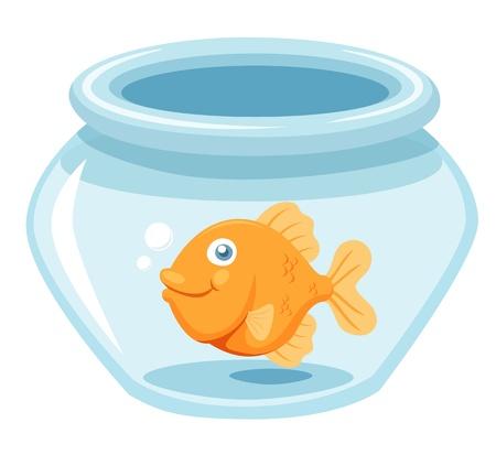 ciotola: illustrazione di pesce rosso in una ciotola vettoriale Vettoriali