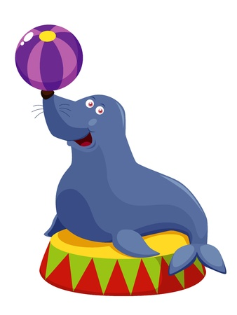 illustration of Circus seal playing a ball Vector