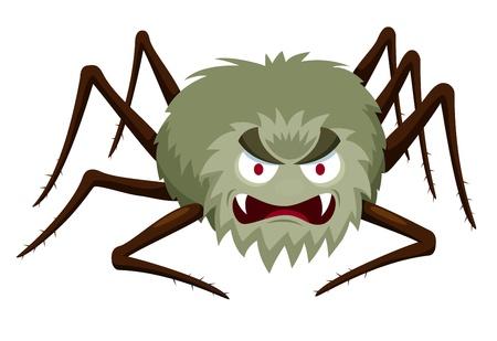 creepy monster: Illustrazione del fumetto di Spider su bianco Vettoriali