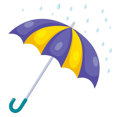 border cartoon: illustration of umbrella and rain Illustration
