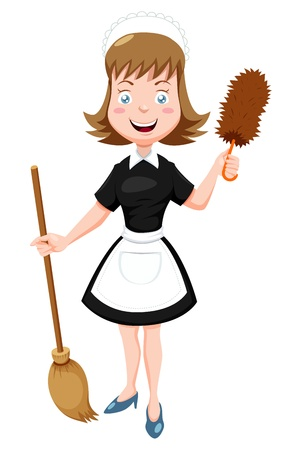 Illustration of Cartoon Maid with broom Vector