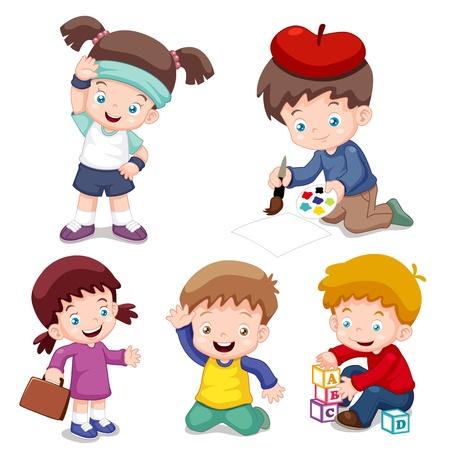 niños pintando: ilustración vectorial de personajes de dibujos animados los niños