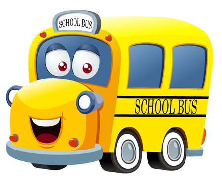 transporte escolar: ilustración del vector de la historieta del autobús escolar