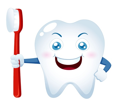 illustration of Cartoon tooth holding a toothbrush Vector