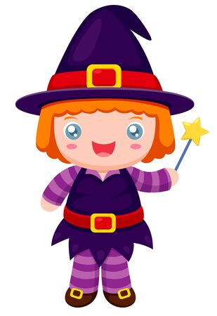 trick or treat: illustration of witch cartoon Vector