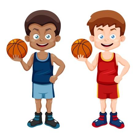 african american boy: illustration of cartoon basketball player Illustration