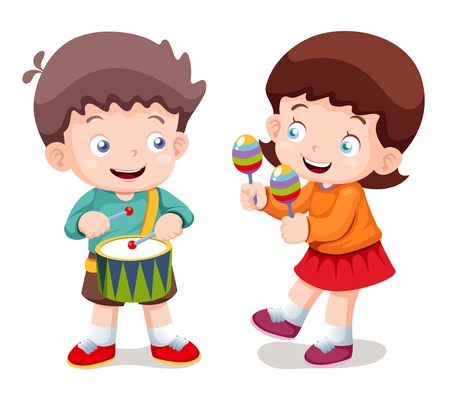 maracas: illustration of Boy and girl music Illustration
