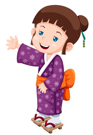 manga style: illustration of Cute little japanese girl Vector
