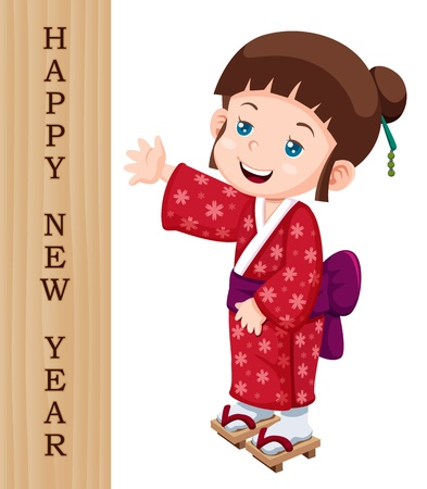 illustration of Cute little japanese girl with Happy New Year sign Vector