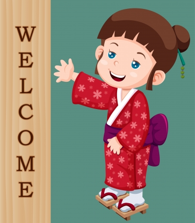 illustration of Cute little japanese girl with Welcome sign Vector