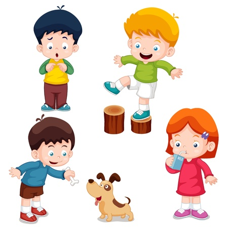 shy girl: illustration of characters kids cartoon Vector