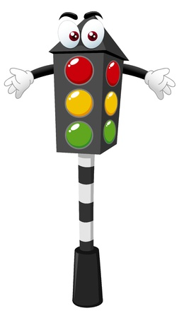 junction: illustration of Cartoon traffic light