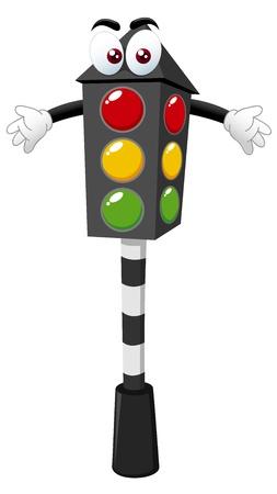 señal transito: ilustración de dibujos animados de la luz de tráfico