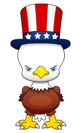 illustration of Cartoon American patriotic eagle Vector