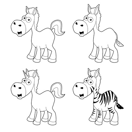 illustration of Cartoon horse outline set Vector Stock Vector - 16392828