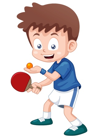 table set: illustration of cartoon table tennis player