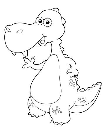lost world: illustration of cartoon dinosaur outline