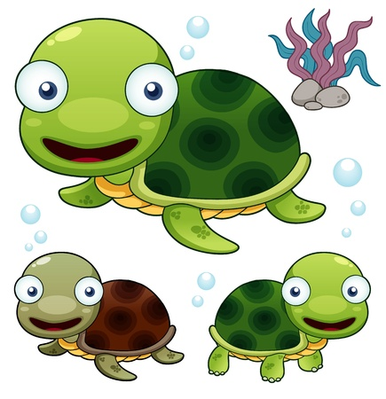 illustration of Cartoon turtle Vector