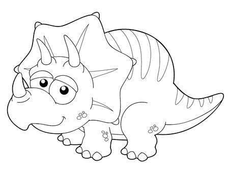 petrifying: illustration of Cartoon dinosaur outline