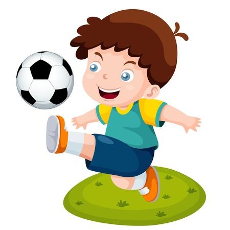 educacion fisica: ilustraci�n de dibujos animados chico jugando al f�tbol