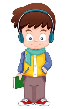 cartoon jongen: illustratie van het beeldverhaal Boy luisteren muziek