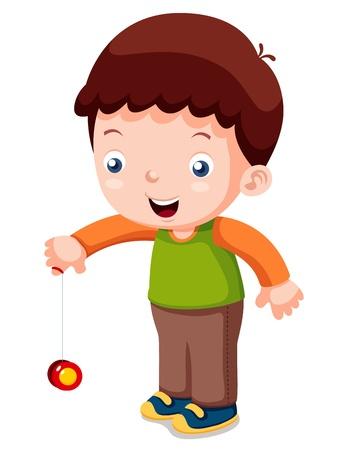 yoyo: illustration of Cartoon boy playing yo-yo