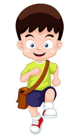 go back: illustration of a boy go to school