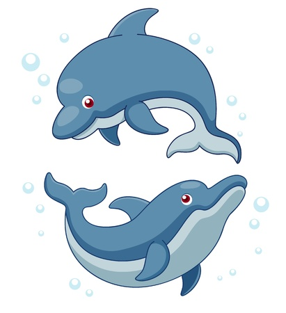 Illustration of Cartoon Dolphins. Vector